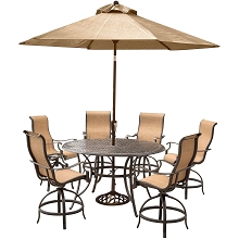 Hanover Manor 7-Piece High-Dining Set with 6 Contoured Swivel Chairs, a 56 In. Cast-top Table, and a 9 Ft. Umbrella with Stand - MANDN7PCBR-SU
