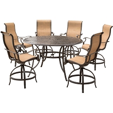 Hanover Manor 7-Piece High-Dining Set with 6 Contoured Swivel Chairs and a 56 In. Cast-top Table - MANDN7PC-BR