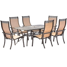 Manor 7PC Dining Set with Six Dining Chairs and a 72 x 38 In. Cast-top Dining Table - MANDN7PC