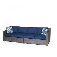 Metropolitan 2PC Loveseat Set with Grey Weave  in Navy Blue  - METRO2PC-G-NVY
