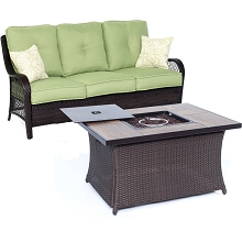 Orleans 2PC Woven Fire Pit Set  in Avocado Green with Tile-top Fire Pit Table - ORLEANS2PCFP-GRN-A