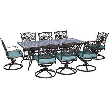 Traditions 9PC Dining Set in Ocean Blue - TRAD9PCSW8-BLU