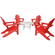 All-Weather 5PC Adirondack Chat Group with Red Chairs and White Table - ADCHATSET5PCSR