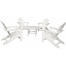 All-Weather 5PC Adirondack Chat Group in White - ADCHATSET5PCWH