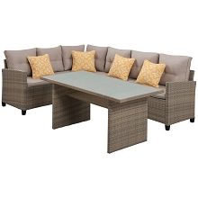 Mod Furniture Amelia 3-Piece Modern Outdoor Furniture Sectional with Dining Height Chow Glass Top Table, Two-Tone Hand Woven All Weather Wicker