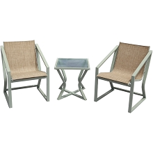 Mod Asbury 3-Piece Modern Outdoor Bistro Chat Set with Two Sling Side Chairs and Glass Top Side Table, ASBURY3PC-TAN