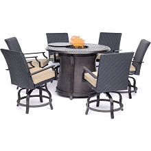Hanover Aspen Creek 7-Piece High-Dining Set with a 48
