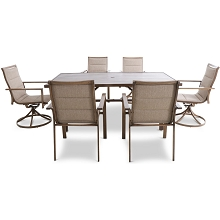 Mod Furniture Atlas 7-Piece Modern Outdoor Dining Set w/ 4 Padded Sling Chairs, 2 Swivel Padded Sling Chairs, & Trestle Style Table, ATLASDN7PCSW2-TAN