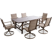Mod Furniture Atlas 7-Piece Modern Outdoor Dining Set with 6 Swivel Padded Sling Chairs and Trestle Style Table, ATLASDN7PCSW6-TAN