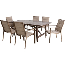Mod Furniture Atlas 7-Piece Modern Outdoor Dining Set with 6 Padded Sling Chairs and Trestle Style Table, ATLASDN7PC-TAN