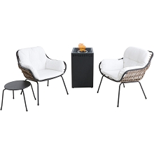 Mod Furniture Bali 4-Piece Modern Outdoor Fire Pit Chat Set w/ Handwoven All-Weather Wicker w/ Stylish Boho White Cushions and 40,000 BTU Gas Fire Pit