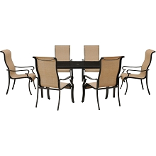 Brigantine 7PC Dining Set with 70 x 40 In. Glass-top Dining Table- BRIGDN7PC-GLS