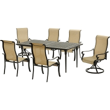 Hanover Brigantine 7-Piece Dining Set with an Expandable Cast-Top Dining Table, 2 Sling Swivel Rockers, and 4 Sling Dining Chairs - BRIGDN7PCSW2-EX