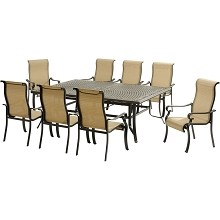 Hanover Brigantine 9-Piece Dining Set with an XL Cast-Top Dining Table and 8 Sling-back Dining Chairs - BRIGDN9PC