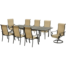 Hanover Brigantine 9-Piece Dining Set with an Expandable Cast-Top Dining Table, 2 Sling Swivel Rockers, and 6 Sling Dining Chairs - BRIGDN9PCSW2-EX