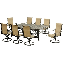 Hanover Brigantine 9-Piece Dining Set with an XL Cast-Top Dining Table and 8 Sling-back Swivel Rockers - BRIGDN9PCSW8
