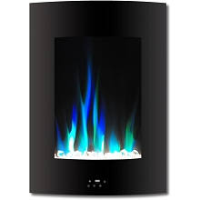 Cambridge 19.5 In. Vertical Electric Fireplace in Black with Multi-Color Flame and Crystal Display - CAM19VWMEF-1BLK
