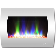 Cambridge 26 In. Curved Wall-Mount Electric Fireplace in White with Multi-Color Flames and Crystal Rock Display - CAM26WMEF-1WHT