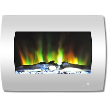 Cambridge 26 In. Curved Wall-Mount Electric Fireplace in White with Multi-Color Flames and Log Display - CAM26WMEF-2WHT