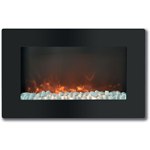 Callisto 30 In. Wall-Mount Electronic Fireplace with Flat Panel and Crystal Rocks - CAM30WMEF-1BLK