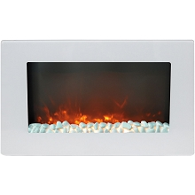Cambridge Callisto 30 In. Wall-Mount Electric Fireplace in White with Crystal Rock Display - CAM30WMEF-1WHT