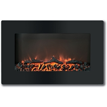 Callisto 30 In. Wall-Mount Electronic Fireplace with Flat-Panel and Realistic Logs - CAM30WMEF-2BLK