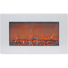 Cambridge Callisto 30 In. Wall-Mount Electric Fireplace in White with Realistic Log Display - CAM30WMEF-2WHT