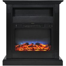 Cambridge Sienna 34 In. Electric Fireplace w/ Multi-Color LED Insert and Black Coffee Mantel - CAM3437-1COFLED