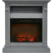 Cambridge Sienna 34 In. Electric Fireplace w/ 1500W Log Insert and Gray Mantel - CAM3437-1GRY