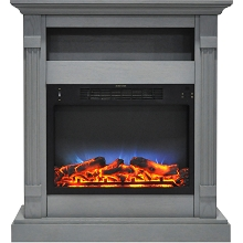 Cambridge Sienna 34 In. Electric Fireplace w/ Multi-Color LED Insert and Gray Mantel - CAM3437-1GRYLED