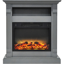 Cambridge Sienna 34 In. Electric Fireplace w/ Enhanced Log Display and Gray Mantel - CAM3437-1GRYLG2