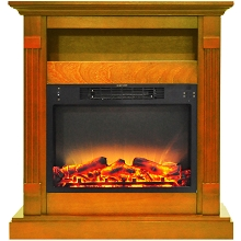 Cambridge Sienna 34 In. Electric Fireplace w/ Enhanced Log Display and Teak Mantel - CAM3437-1TEKLG2