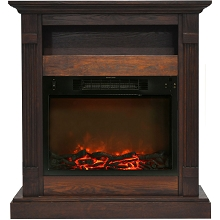 Cambridge Sienna 34 In. Electric Fireplace w/ 1500W Log Insert and Walnut Mantel - CAM3437-1WAL