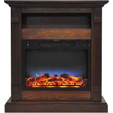 Cambridge Sienna 34 In. Electric Fireplace w/ Multi-Color LED Insert and Walnut Mantel - CAM3437-1WALLED