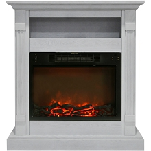 Sienna Fireplace Mantel with Electronic Fireplace Insert in White - CAM3437-1WHT