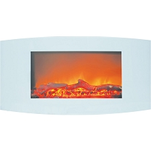 Cambridge Callisto 35 In. Wall-Mount Electric Fireplace with White Curved Panel and Realistic Log Display - CAM35WMEF-2WHT