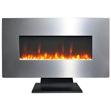 Cambridge 36 In. Metallic Electric Fireplace in Stainless Steel with Multi-Color Crystal Rock Display - CAM36WMEF-1SS