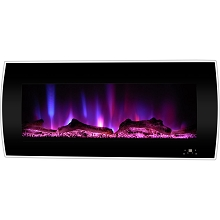 Cambridge 42-In. Curved Wall-Mount Electric Fireplace Heater in Black with Multi-Color LED Flames, Driftwood Logs, and Remote Control, CAM42CWMEF-2BLK