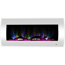 Cambridge 42-In. Curved Wall-Mount Electric Fireplace Heater in White with Multi-Color LED Flames, Driftwood Logs, and Remote Control, CAM42CWMEF-2WHT