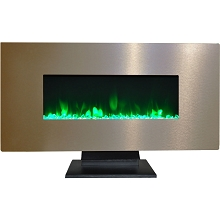 Cambridge 42 In. Metallic Electric Fireplace in Bronze with Multi-Color Crystal Rock Display - CAM42WMEF-1BR
