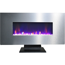 Cambridge 42 In. Metallic Electric Fireplace in Stainless Steel with Multi-Color Crystal Rock Display - CAM42WMEF-1SS