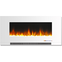Cambridge 42 In. Wall-Mount Electric Fireplace in White with Multi-Color Flames and Crystal Rock Display - CAM42WMEF-1WHT