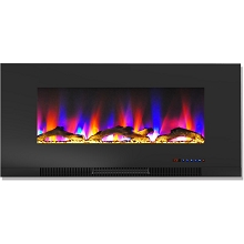 Cambridge 42 In. Wall-Mount Electric Fireplace in Black with Multi-Color Flames and Driftwood Log Display - CAM42WMEF-2BLK