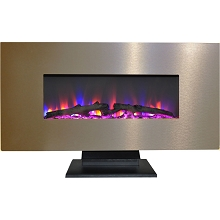 Cambridge 42 In. Metallic Electric Fireplace in Bronze with Multi-Color Log Display - CAM42WMEF-2BR