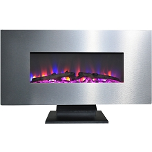 Cambridge 42 In. Metallic Electric Fireplace in Stainless Steel with Multi-Color Log Display - CAM42WMEF-2SS