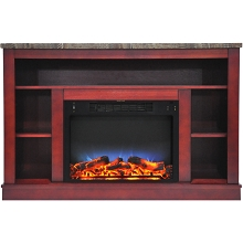 Cambridge 47 In. Electric Fireplace with a Multi-Color LED Insert and Cherry Mantel - CAM5021-1CHRLED