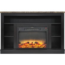 Cambridge 47 In. Electric Fireplace with Enhanced Log Insert and Black Coffee Mantel - CAM5021-1COFLG2