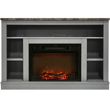 Cambridge 47 In. Electric Fireplace with 1500W Charred Log Insert and A/V Storage Mantel in Gray - CAM5021-1GRY