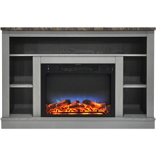 Cambridge 47 In. Electric Fireplace with a Multi-Color LED Insert and Gray Mantel - CAM5021-1GRYLED