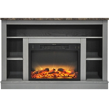 Cambridge 47 In. Electric Fireplace with Enhanced Log Insert and Gray Mantel - CAM5021-1GRYLG2